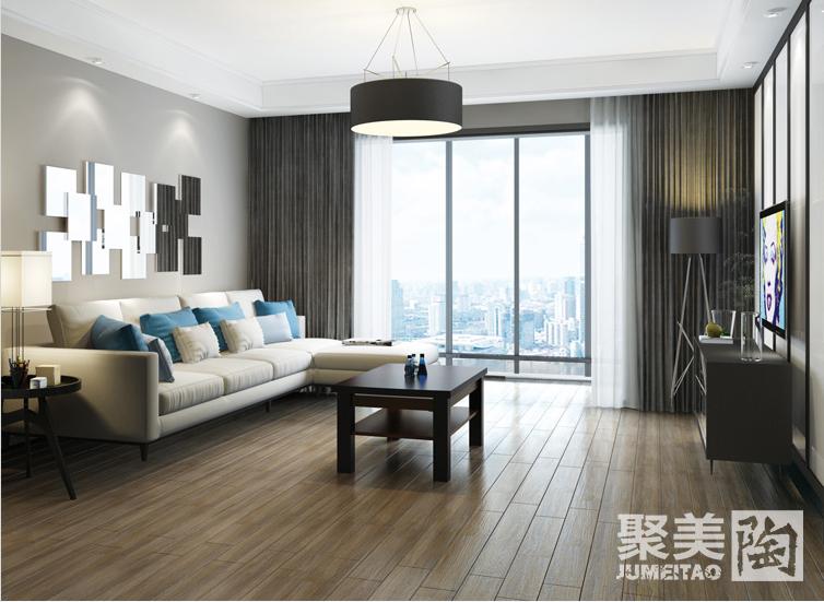 客厅装修地砖效果图一:简约时尚的木纹砖搭配