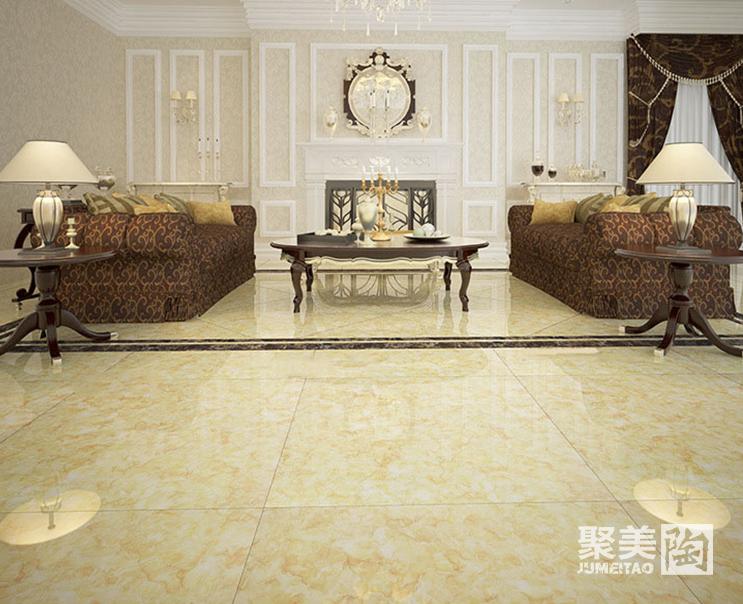 客厅装修地砖效果图三:欧式豪华的抛光砖搭配