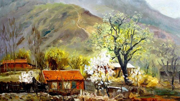 油画风景临摹山