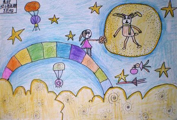 中秋节月饼儿童画 月亮吃月饼 节日儿童画图片
